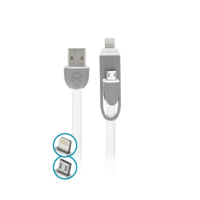Forever 2in1 micro-USB + iPhone 8-PIN cable silicone white 1m 1,8A