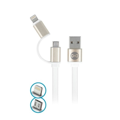 Forever cable 2in1 micro-USB + iPhone 8-PIN metal flat white 1m 1,8A