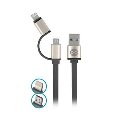 Forever cable 2in1 micro-USB + iPhone 8-PIN metal flat black 1m 1,8A