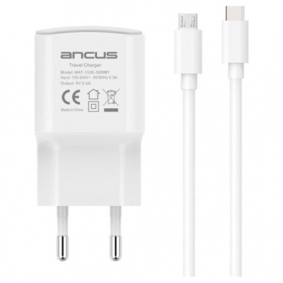 Ancus USB-C / micro USB Cable & USB Wall Adapter Λευκό (Supreme)