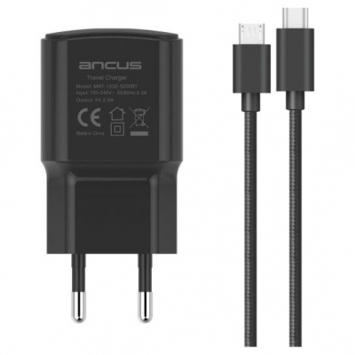 Ancus micro USB / USB-C Cable & USB Wall Adapter Μαύρο (Supreme)