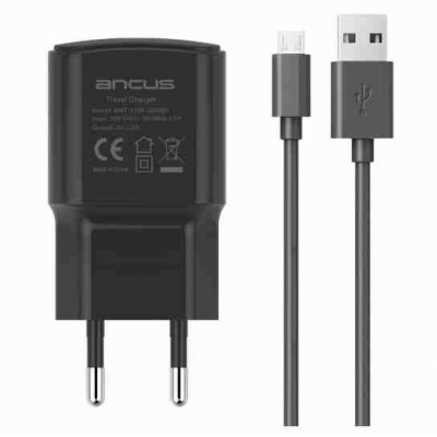 Ancus micro USB Cable & USB Wall Adapter Μαύρο (Supreme Series)