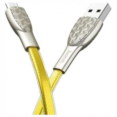 Hoco U52 Flat USB Micro 1.2m Bright Χρυσό