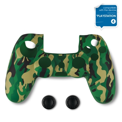Spartan Gear Controller Silicon Skin Cover Green Camouflage & 2 Thumb Grips PS4