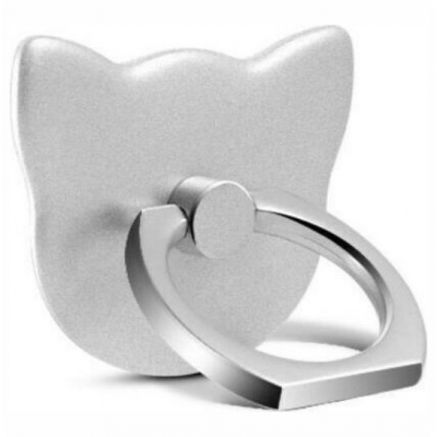 Rotating Ring Μεταλλικό για Κινητά Τηλέφωνα Cat Silver