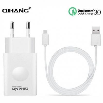 USB Type-C Cable & Wall Adapter Λευκό (Qihang Z06)